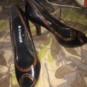 Black and Brown Open Toe Heels